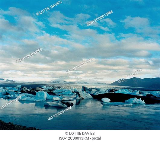 Icebergs and Glacier in southern Iceland