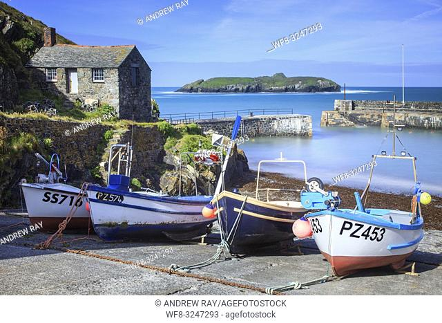 Fishing Boats on the slipway at Mullion Cove on Cornwall's Lizard Peninsula, captured on a morning in early June