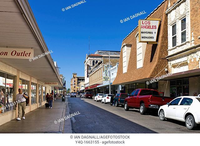 Shops on Hidalgo Street in downtown Laredo, Texas, USA