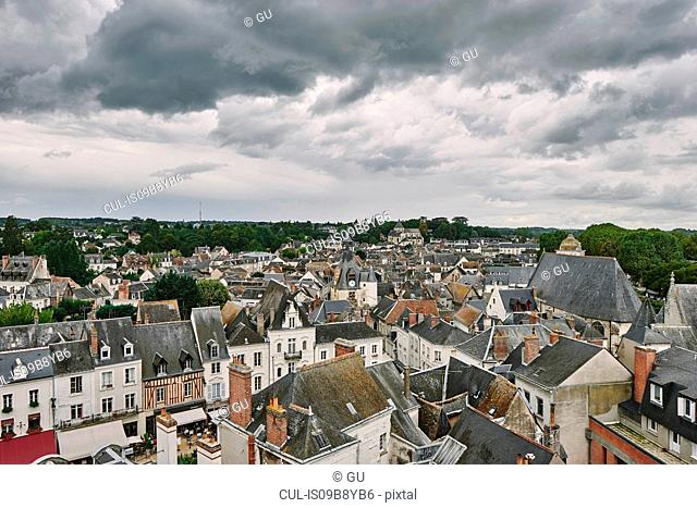 High angle cityscape of traditional townhouses and rooftops, Amboise, Loire Valley, France