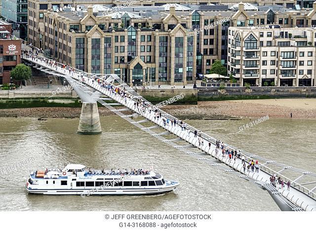 United Kingdom Great Britain England, London, Bankside, River Thames, Tate Modern art museum terrace view, Millennium Bridge, suspension footbridge