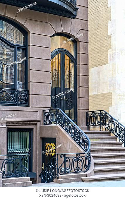 Close Up of an Upper East Side, Manhattan, NYC, Elegant Brownstone Townhouse Entry