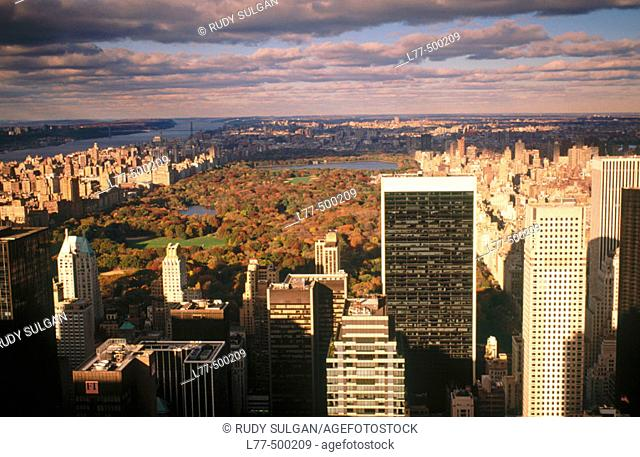 Central Park and buildings in New York City. USA