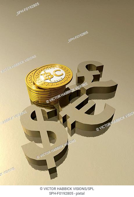 Bitcoins and currency symbols, illustration