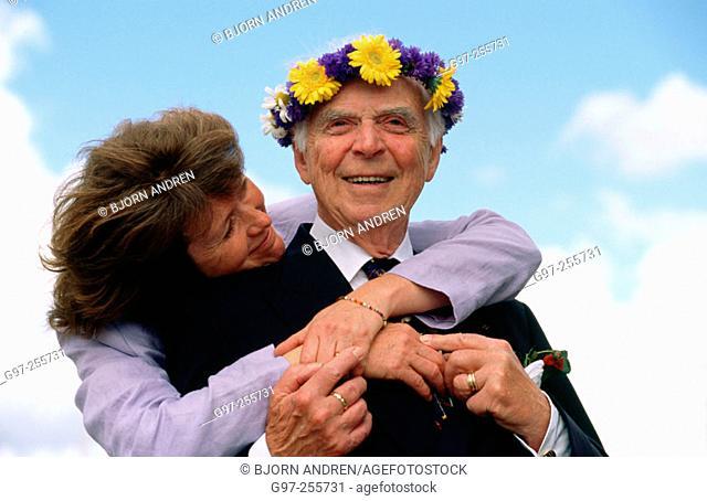 Woman and elderly man