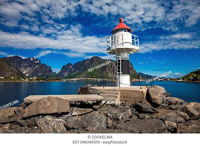 Lofoten is an archipelago in the county of Nordland, Norway. Is known for a distinctive scenery with dramatic mountains and peaks, open sea and sheltered bays