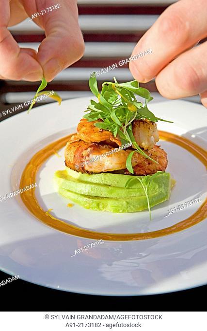 French Polynesia, Leeward archipelago, Bora Bora island, Luxury Hotel resort Saint-Regis, Chef Romuald Feger at restaurant Lagon by Jrean-Georges Vongerichten