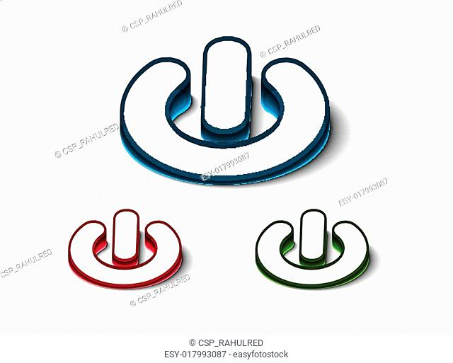 3d glossy power on or off button icon