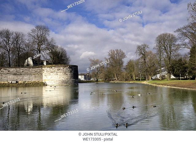 Part of the old fortifications in the city parc of Maastricht which is the capital city of the Dutch province Limburg