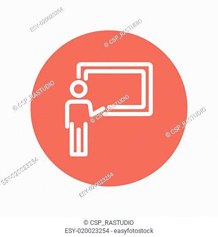Professor in front of a blackboard thin line icon