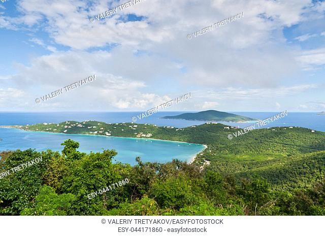 The beautiful inland Magens Bay on the US Virgin Island of Saint Thomas as seen from mountain top