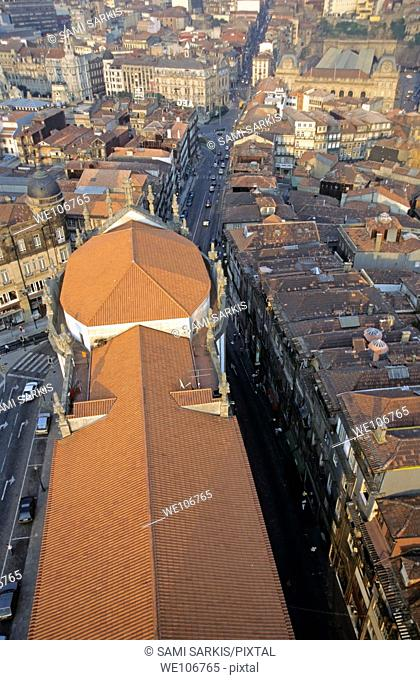 Rooftops of the city buildings seen from the tower of Clérigos Church, Porto, Portugal