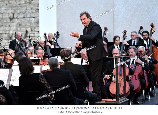 Festival dei 2 Mondi of Spoleto, the orchestra conductor Daniele Gatti during the closing concert in the Duomo square ,Spoleto, ITALY-14-07-2019