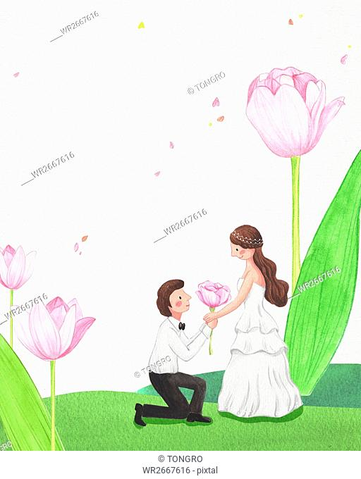 Side view of romantic wedding couple posing face to face