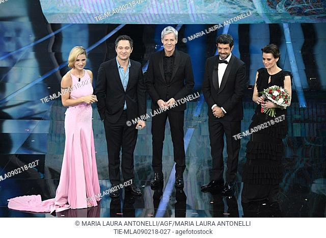 Michelle Hunziker, the actor Claudio Santamaria, Claudio Baglioni, Pierfrancesco Favino, the actress Claudia Pandolfi at the 68th Sanremo Music Festival