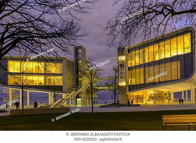 Dusk, Botin Center Museum Art and Culture. Botin Foundation, architect Renzo Piano. Santander, Cantabrian Sea, Cantabria, Spain, Europe