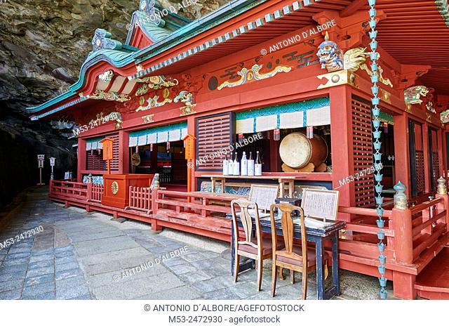 The main Shrine set in the cave of Udo-Jingu shinto temple. Nichinan City. Miyazaki Prefecture. Japan