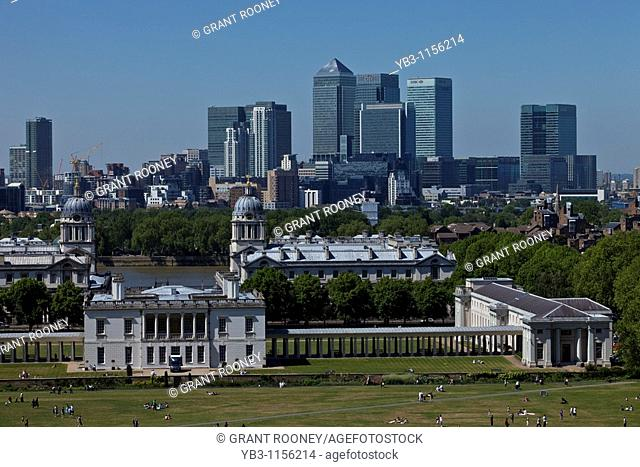 The National Maritime Museum and Canary Wharf from Greenwich Hill, London, England