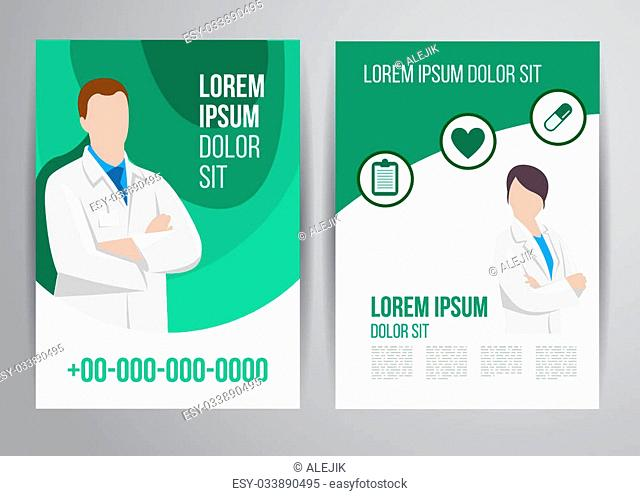 Vector health care brochure for clinic with doctors. Medical flyer design