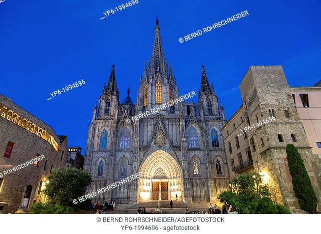 Cathedral of the Holy Cross and Saint Eulalia, illuminated at night, Barcelona, Spain