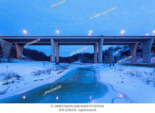 A viaduct (bridge) that on Dundas Street that spans 16 Mile Creek and the Lions Valley in Oakville, Ontario, Canada