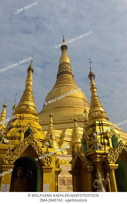 View of the golden stupa of the 2,500 years old Shwedagon Pagoda in Yangon (Rangoon), the largest city in Myanmar