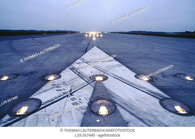 Runway in Langenhagen's airport. Hannover. Germnay