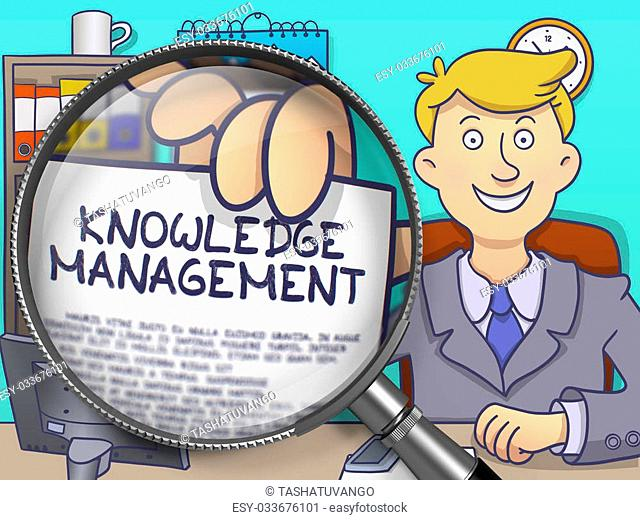 Businessman Sitting in Office and Holds Out a Paper with Knowledge Management concept. Closeup View through Magnifier. Colored Modern Line Illustration in...