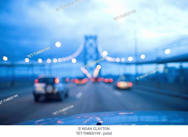 USA, San Francisco, Driving on Golden Gate Bridge