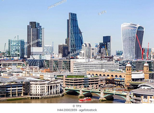 England, London, River Thames and City of London Skyline