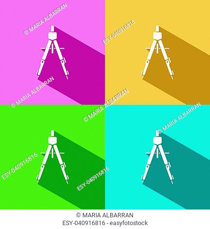 Drawing compass icon with shade on colored background