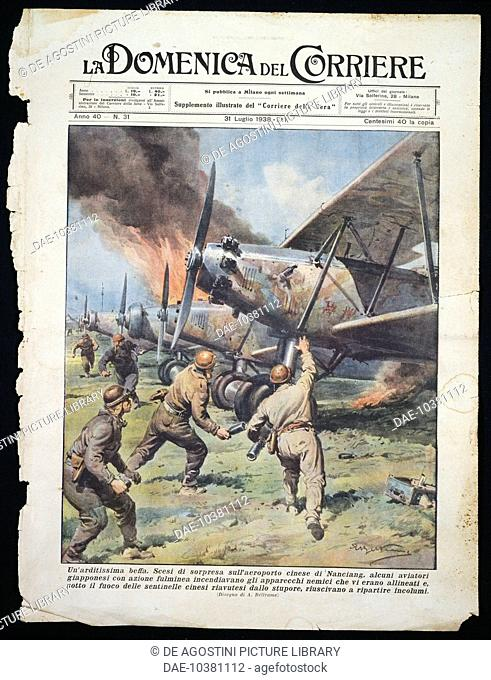 Japanese commando attack on the Chinese airport of Nanchang, plate by Achille Beltrame (1871-1945) from La Domenica del Corriere newspaper, July 31, 1938
