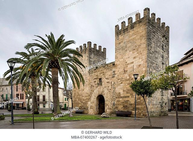 Medieval city gate in Alcudia, Mallorca, Balearic Islands, Spain