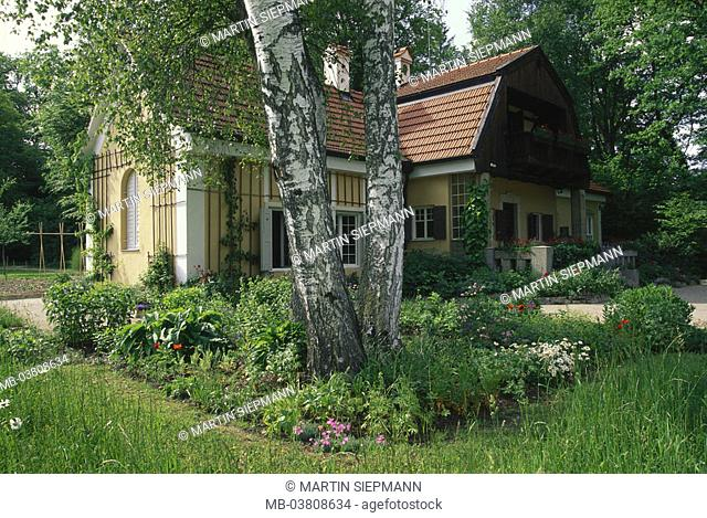 Germany, Bavaria, Utting at the  Ammersee, artist house 'Gasteiger', Garden Upper Bavaria, shores, forest, house, residence, artist seat