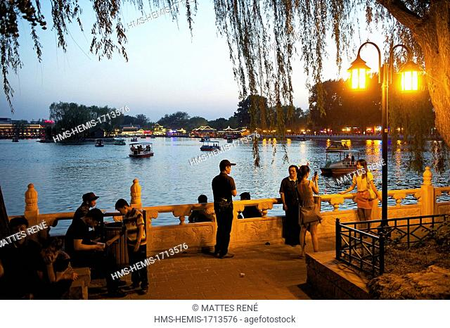 China, Beijing, Xicheng District, Park and lake Houhai