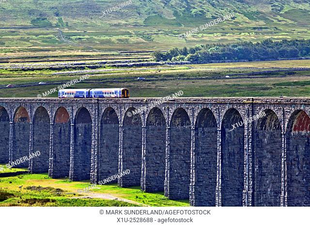 Northern Rail Train Crossing the Ribblehead Viaduct Yorkshire Dales North Yorkshire England