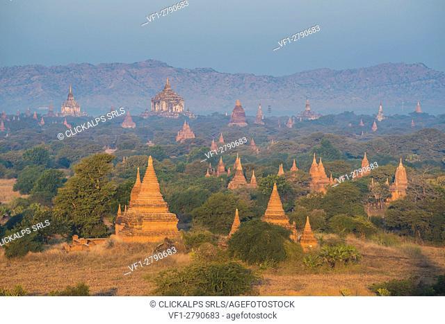 Bagan, Mandalay region, Myanmar (Burma). Pagodas and temples in the early morning