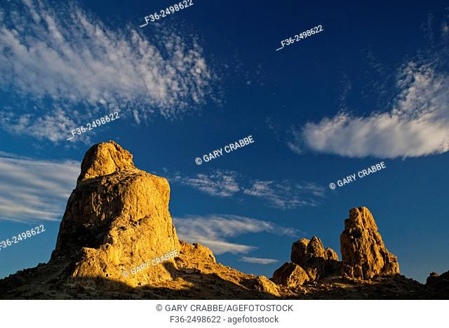 Sunset light on Tufa rock formations at the Trona Pinnacles, California