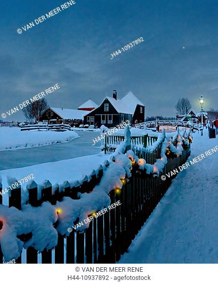 Holland, Netherlands, Europe, Zaandam, Open-air, museum, Zaanse Schans, farm, water, winter, snow, ice, Christmas illuminations