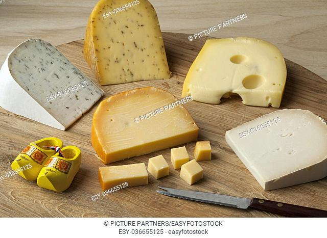 Diversity of Dutch cheese on a cutting board