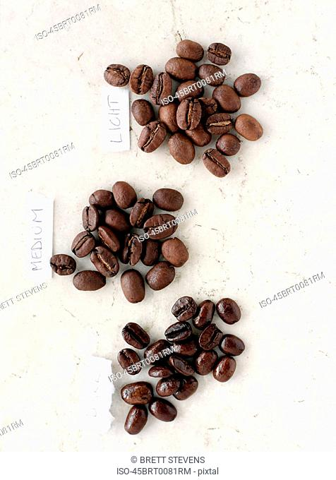Piles of labeled coffee beans