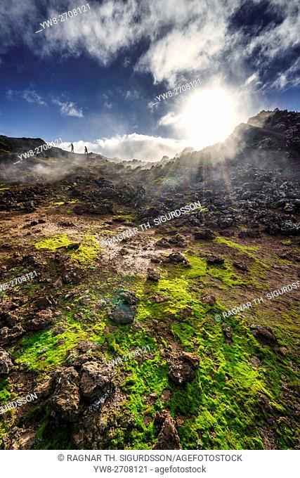 Steaming geothermal landscape, Eldvorp in Reykjanes, Iceland