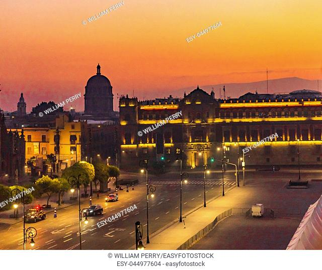Presidential National Palace Monument Sunrise Zocalo Mexico City Mexico. Palace built by Cortez in 1500s