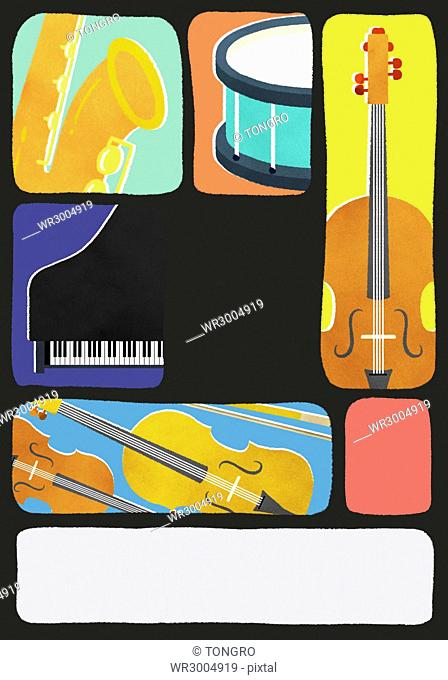 Typographic illustration of instruments such as piano, drum, violin and saxophone