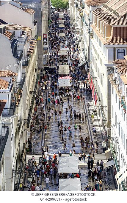Portugal, Lisbon, Baixa, Chiado, historic center, Rua Augusta, pedestrian mall, promenade, overhead, aerial, view, panoramic, city skyline, rooftops