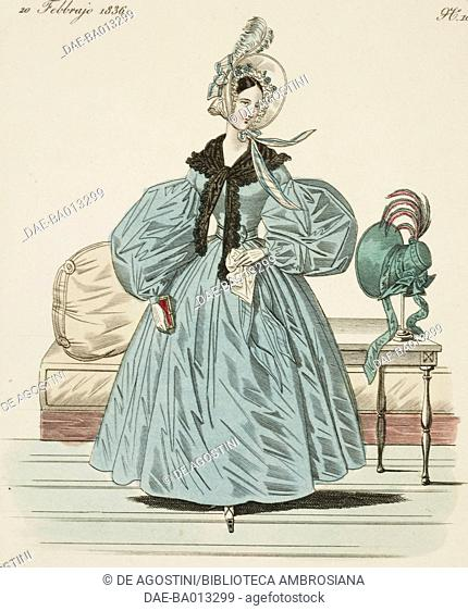 Female sketch with hat decorated by feathers and black shawl, plate 10 taken from Parisian Fashion, Il Corriere delle Dame (the Lady's Courrier)