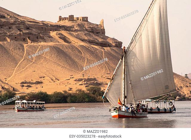 Typical Egypt boat, Felluca, on Nile river