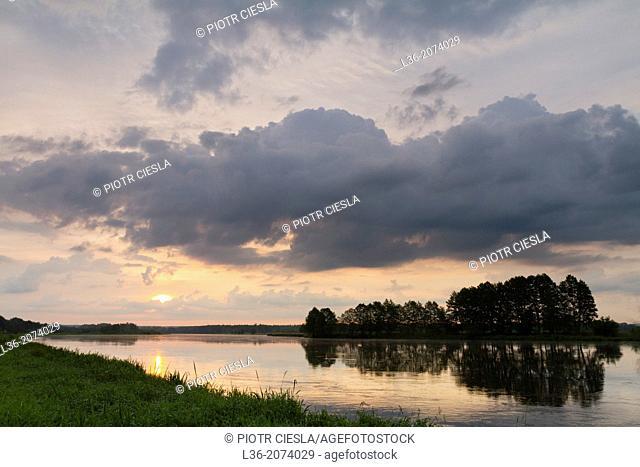 Sunrise on Bug river. Podlasie region. Poland