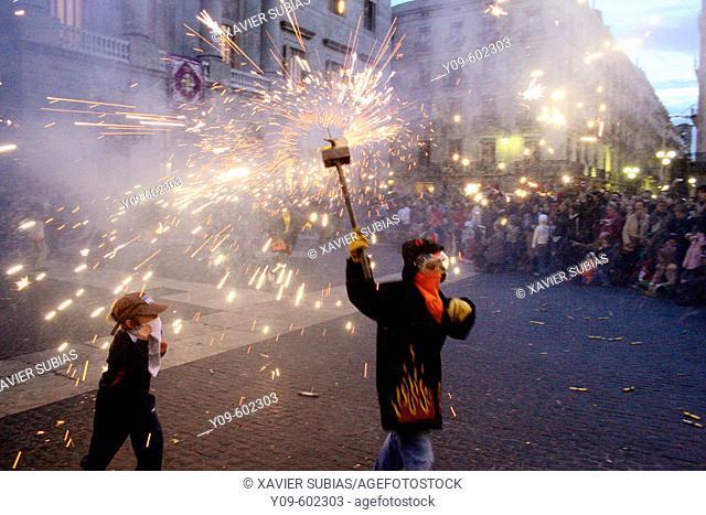 Correfoc. Santa Eulàlia festivities. Barcelona. Spain