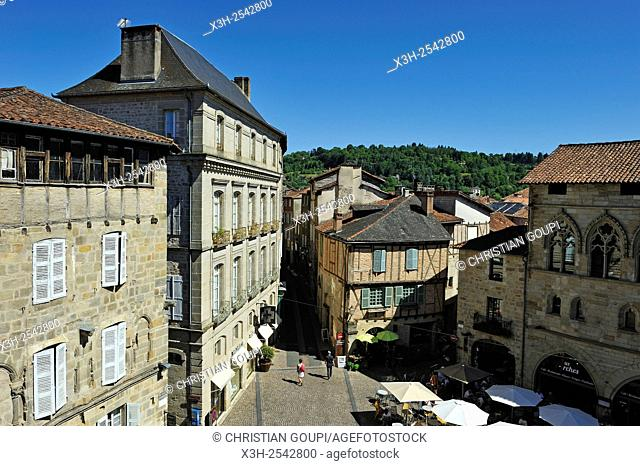 Champollion square, city of Figeac, Lot department, region of Midi-Pyrenees, southwest of France, Europe